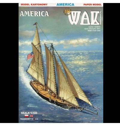 Vystrihovačka papierový model plachetnice America