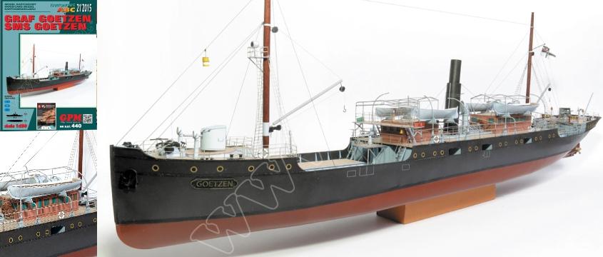 Vystrihovačka papierového modelu lodi Graf Goetzen