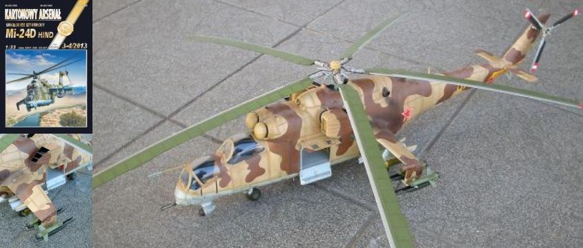 Vystrihovačka papierového modelu vrtuľníka Mi-24 D